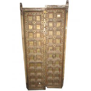 deur met koperen beslag 2 stuks