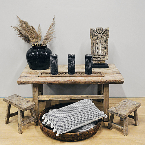 coffee table styled in boho style