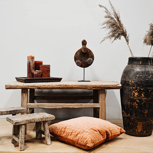 coffee table styled in rustic style